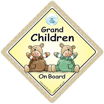 Suction Cup Car Sign Baby On Board Car Sign Grandchildren On Board Car Sign