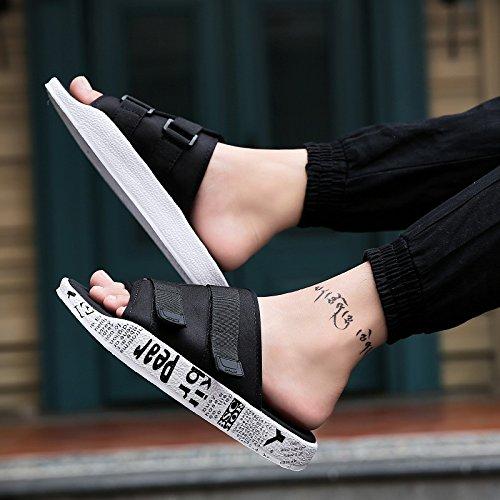 AIHUWAI Sandals Men Sandals Summer Flip-Flops Sandals Men'S Slippers Sandals & Slippers Slip Outdoor Beach Shoes Flip-Flops Men'S Shoes White Black