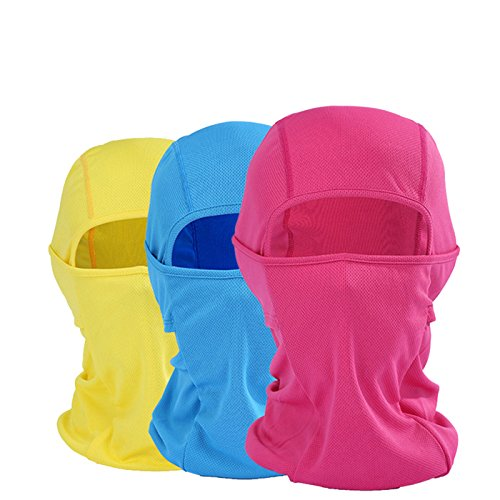 Runtlly Full Face MaskHeadband Motorcyle Mask Tactical Hood Balaclava Ski Mask 3Pack Blue Red ()