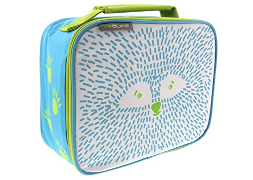 (reduce insulated & reusable lunchbox- Furry Friends Design White/Green Raccoon - compact, lightweight with zipper closure - Lunch bag for kids, boys and girls)
