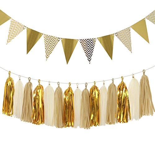 Sparkly Paper Pennant Bunting Banner Triangle Flags 8.2 Feet and Tissue Paper Tassel Garland 15 pcs for Vintage Home Wall Decoration, Metallic Gold (Paper Banners)