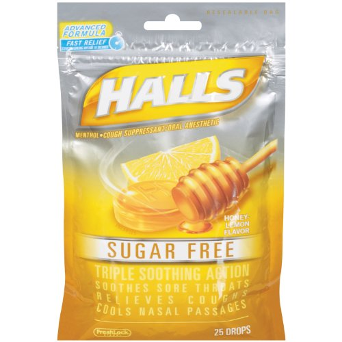 - Halls Cough Drop, S/F, Hny Lemn, 25-Count (Pack of 6)