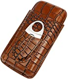AMANCY Classic Brown Crocodile Genuine Leather Cigar Tube Case with Cutter Set