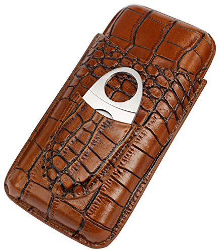 (AMANCY Classy Brown Crocodile Pattern Leather Cigar Tube Case with Cutter Gift Set)