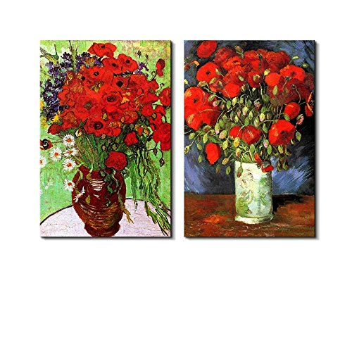 Famous Oil Painting Reproduction Replica Set of 2 Vase with Red Poppies Daisies by Van Gogh ped x 2 Panels