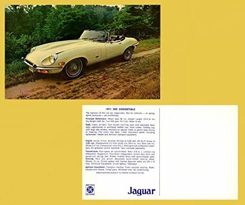1971 JAGUAR XKE CONVERTIBLE LARGE VINTAGE FACTORY COLOR POSTCARD - USA - GORGEOUS ORIGINAL POST CARD !!