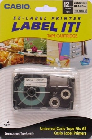 Brand New Casio Universal Label Tape- 12mm Black Ink on Clear Tape. FITS ALL CASIO LABEL PRINTERS!
