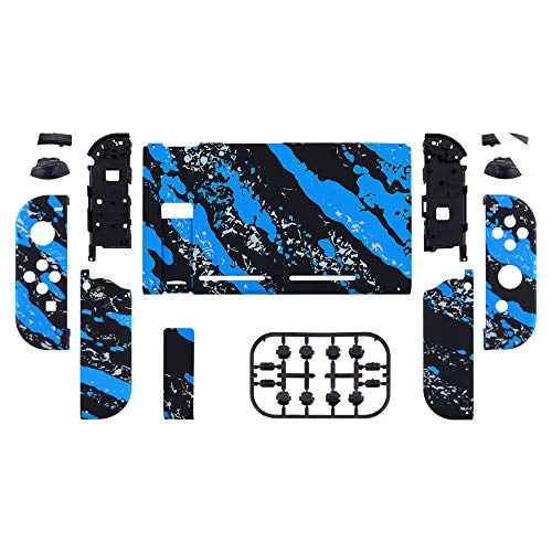 eXtremeRate Soft Touch Grip Back Plate for Nintendo Switch Console, NS Joycon Handheld Controller Housing with Full Set Buttons, DIY Replacement Shell for Nintendo Switch - Blue Coating Splash