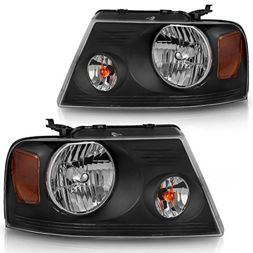 For Ford F150 Pickup 2004-2008 Headlight Black Housing Amber Reflector Clear Lens,Passenger & Driver side