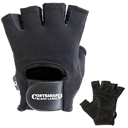 Contraband Black Label 5050 Mens Basic Leather Fingerless Weight Lifting Gloves - Durable Light - Medium Padded Split Leather Gym Gloves - Perfect Classic Lifting Gloves (Pair) (Black, X-Large)
