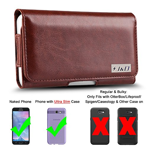 J&D Holster Compatible for Galaxy S10/Galaxy J7 2018/J7 2017/J7 2016/J7 V 2nd Gen/J7 Refine/J7 Star Holster with Belt Clip, PU Leather Pouch and ID Wallet Case (Fit with Naked Phone/Slim Case On)