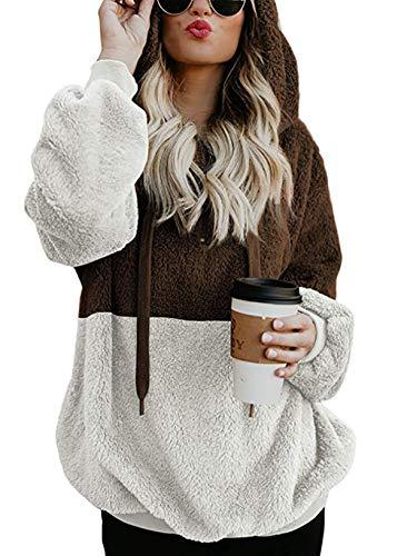 (BTFBM Women Hooded Fleece Jacket Pullover Long Sleeve Zip Hoodie Sweatshirt Coat Outwear)