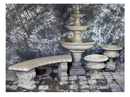 Fleur de Lis Garden Ornaments LLC Three Tier Renaissance Fountain with Classic Urns and Bench Package Number 1013