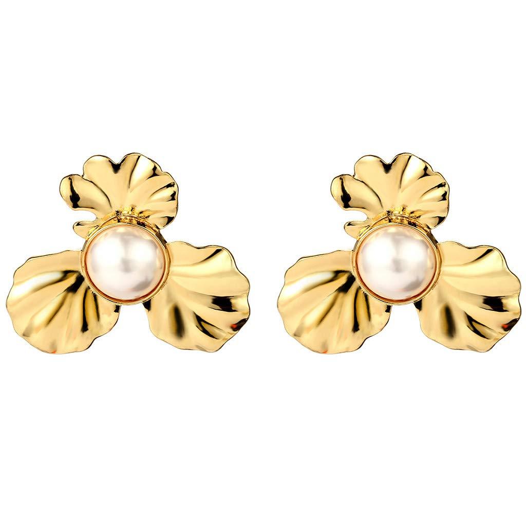 Klions Vintage Personality Earrings Flower Alloy Texture Simple Pearl Long Pendant Earrings Dangle Stud