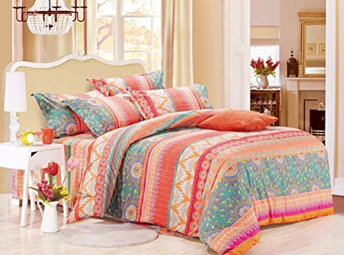 Bohemian Duvet Cover Set, Orange Coral Boho chic Mandala Printed Soft Microfiber Bedding, with Zipper Closure (3pcs, Queen Size) - Printed Coral