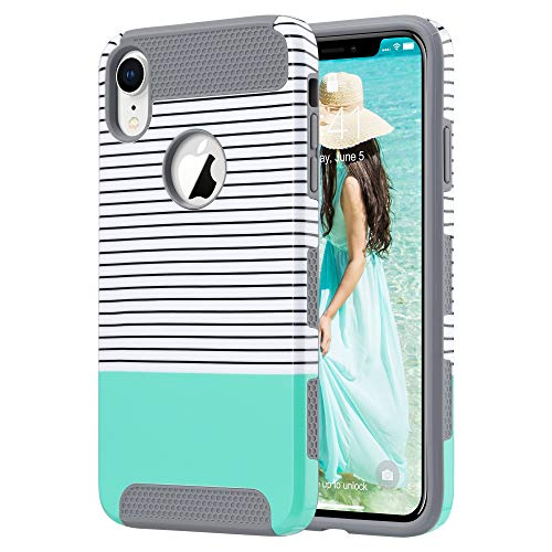 (ULAK iPhone XR Case, Slim Fit Hybrid Hard PC Shell Flexible Shock Absorbing TPU Skin Protective Grip Cover for Apple iPhone XR 6.1 Inch, Mint Stripes)