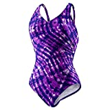 Speedo Womens Athletic Modest Coverage One Piece Swimsuit (10, Speedo Purple)