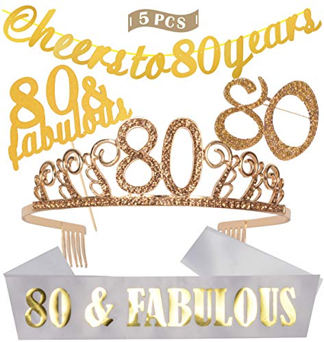 80th Birthday Decorations Party Supplies | Gold 80th Birthday Tiara | 80th White Satin Sash 80 & Fabulous | Gold Glittery Cheers to 80 Years Banner | 80 and Fabulous Cake Topper | 80 Golden Rhinestone Brooch | for 80th Birthday Party Supplies and Decorations