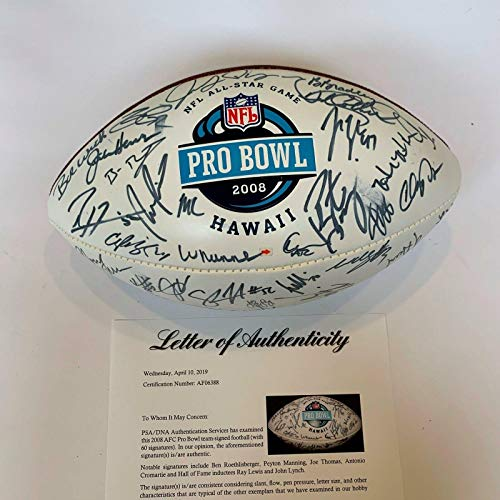 2008 Pro Bowl Signed Football 60 Sigs Peyton Manning Ben Roethlisberger - PSA/DNA Certified - Autographed Footballs Ben Roethlisberger Signed Football