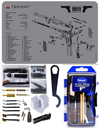 1911 EDOG 27 PC Hybrid Gun Cleaning Kit Gray Tekmat |.45 Cal | COLT | Kimber | Springfield Armory | Barrel Bushing Wrench | Bonus Colt Ace /.22 Cal Conversion Owners .22 cal Brush / Mop | Bore Light (Glock 22 Conversion Kit)