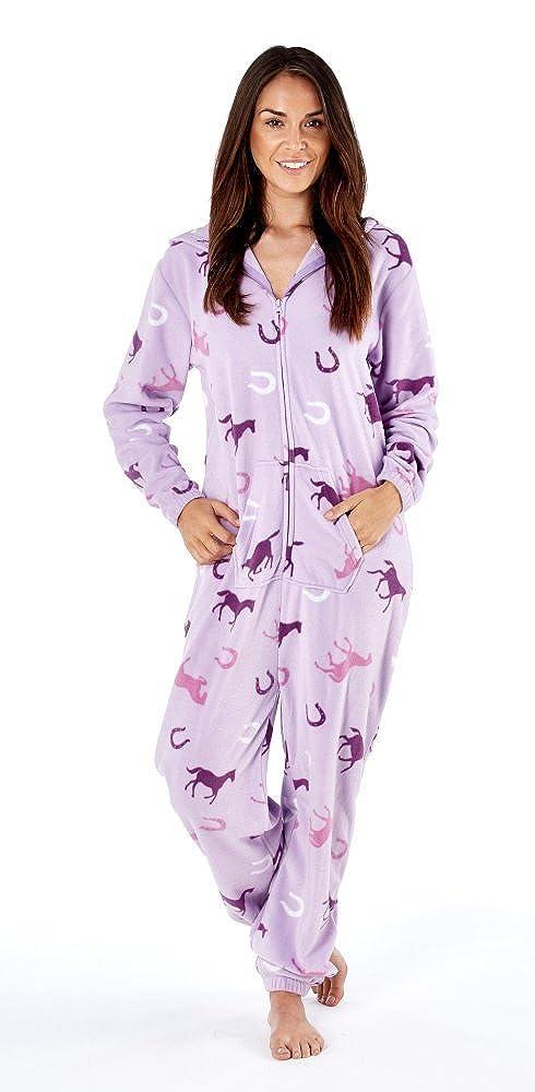 Platinum Ladies Happy Horse Hooded Fleece Onesie - Lilac  Amazon.co.uk   Clothing 8af91bf1f