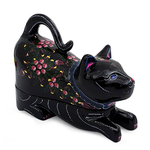 (NOVICA Decorative Hand Painted Mango Wood Lacquered Box, Black with Pink Flowers, Kitty Cat)