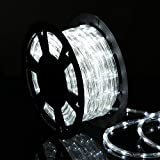 50ft 360 LED Waterproof Rope Lights,110V Connectable Indoor Outdoor Led Rope Lights for Deck, Patio, Pool, Camping, Bedroom Decor, Landscape Lighting and More