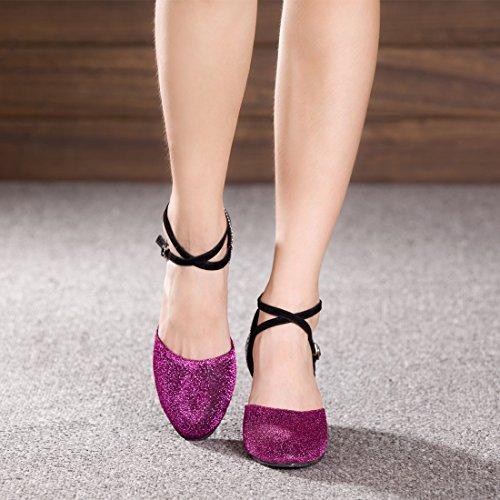 Absatz Damen Gummi Mädchen 5cm Lila Sohle mit Schuhe Tanz Latein DorkasDE Tanzschuhe Ballroom 5 A7dwAx60