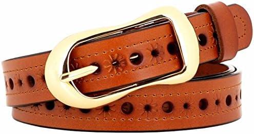 HAPPY-BELT Cinturón de señoras Cuero Hueco cinturón Decorativo Delgado Moda Jeans con Marea