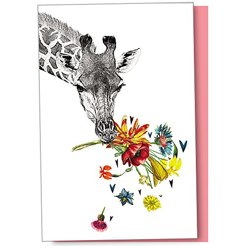 Tree-Free Greetings Eco Notes 12-Count Checking in Giraffe Blank Notecard Set With Envelopes, All Occasion, For Animal Lovers, (FS56865) - Giraffe Note