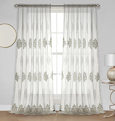 Dreaming Casa Embroidered White Sheer Curtain Semi Floral Voile Window Treatment 102 Inches Long Living Room Drapes Royal European Patter Rod Pocket 2 Panels (White, 72