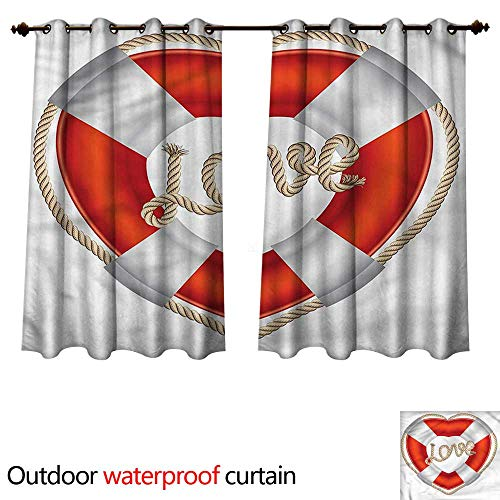 Buoy Outdoor Balcony Privacy Curtain Valentine Love Hearts W55 x L45(140cm x 115cm)