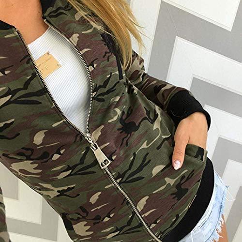 Giacca Tasche Coreana Donna Coat Cappotto Collo Mode Cerniera Confortevole Laterali Outerwear Manica Autunno Grün Marca Slim Elegante Lunga Fit Di Camuffare Con AAwdrxq