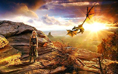 Game of Thrones Khaleesi Mtn Playmat + Free RFG Sleeves 75 Count Standard