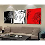 Smoosky Abstract the White and Red Rich Tree Decorative Painting Canvas Modern Art of Three Pieces (50*50 framed)
