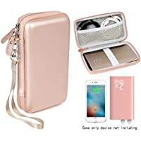 Rose Good Protective and Carrying Case for DULLA M50000 Portable Power Bank 12000mAh External Battery Charger by WGear, detachable wrist strap, elastics strap to secure device, Mesh Cable Pocket