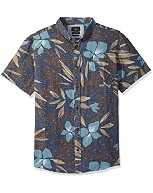 Men's Short Sleeve Linen Print Shirt