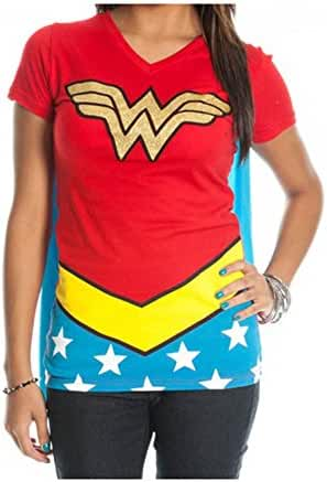 DC Comics Wonder Woman Glitter Juniors Red V-neck Cape Tee