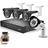 BESDER Pro HD 1080P POE Video Security System (NVR Kit), 4 1080P POE IP67 Waterproof Outdoor Bullet IP Cameras 98ft Night Vision Motion Detection Email Photo Remote Viewing CCTV Security System NO HDD