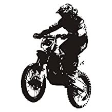 "DCTOP Dirt Bike Rider Wall Sticker Living Room Self Adhesive Kids Wall Decal Vinyl Removable Home Decor Black 22.4""x33"""
