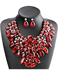 8 Colors Costume Statement Necklace for Women Jewelry...