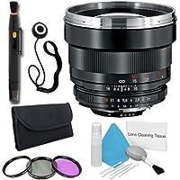 Zeiss 85mm f/1.4 Lens for Nikon Digital SLR Cameras + 72mm 3 Piece Filter Kit + Lens Cap Keeper + Deluxe Cleaning Kit + Lens Pen Cleaner DavisMAX Bundle - International Version (No Warranty)
