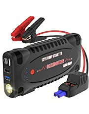 CLEEBOURG Portable Car Jump Starter Power Pack 1500A 12V For Heavy-duty Vehicle Up For 8.0L Gas & 6.5L Diesel, Auto Emergency Battery Boosters Power Bank With QC3.0 Dual USB Charger, LED Flashlight