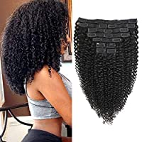 Rolisy Kinky Curly Clip in Hair Extensions Afro 3C 4A Kinky Curly Hair Clip Ins...