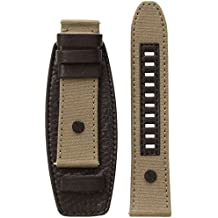 Diesel On 24mm Full Guard Black Leather and Olive Canvas Strap DZT0008