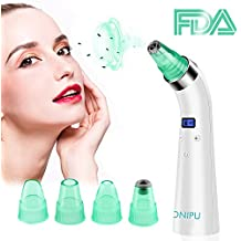 Blackhead Remover Vacuum Pore Cleaner, ONIPU Rechargeable Acne Comedone Extractor Tool Facial Skin Care Pore Cleanser Suction Microdermabrasion Machine with 4 Probes & LCD Display for Men & Women
