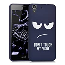 kwmobile TPU SILICONE CASE for Huawei Y6 Design Don't touch my phone white dark blue - Stylish designer case made of premium soft TPU