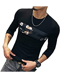 Mens Cotton Fitted long-Sleeve Graphic Printed Pullover Casual T-Shirt