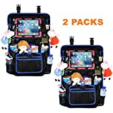 """Car Back Seat Organizer Protector - Travel Accessories Large Size Toy Storage Bag with 12.9"""" Tablet Holder for Kids, Backseat Cover, Kick Mats by WEIKER (BLACK - 2 PACKS)"""