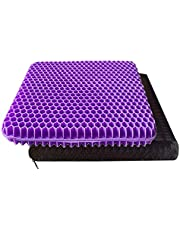 Purple Gel Seat Cushion, Office Chair Seat Cushion Double Thick Gel Cushion Breathable Lumbar Support Chair Cushion Chair Pad with Non-Slip Cover for Office Chair, Car, Wheelchair, Long Trips
